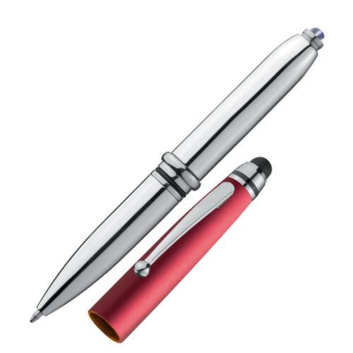silber-rot mit LED Licht und Touchscreenstift Touchpen Kugelschreiber