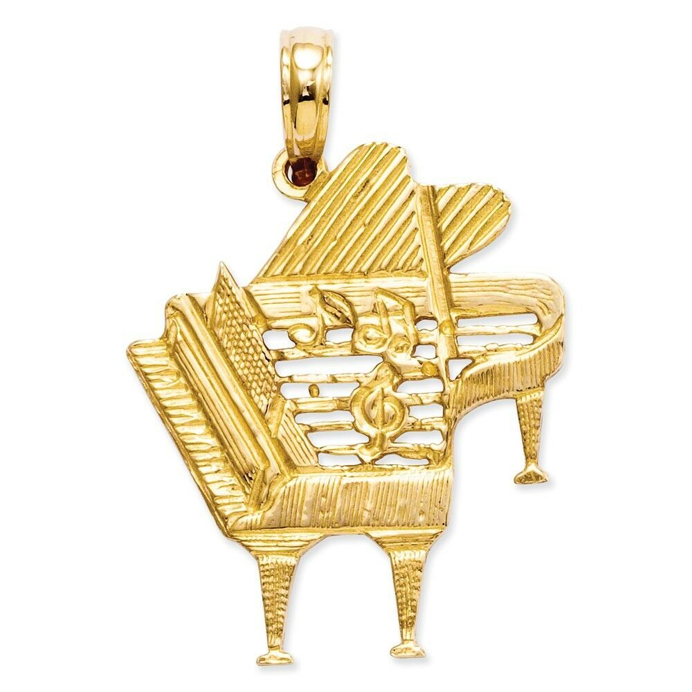 14k Yellow gold Piano Pendant 25x20mm 1.68gr