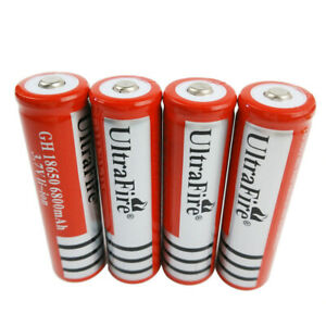 4X 18650 Batterie 6800mAh Button Top Li-ion 3.7V Rechargeable For LED Flashlight