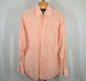 Santorelli-Large-Long-Sleeve-Button-Front-Shirt-Light-Orange-White-Plaid