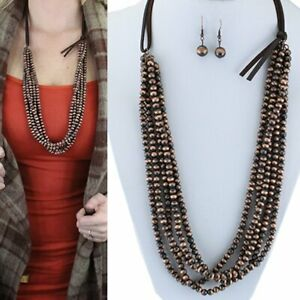 Western-Navajo-Style-Faux-Pearl-Copper-Bead-Five-Strand-32-034-Long-Necklace-Set