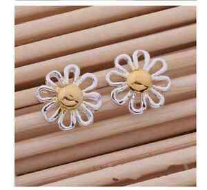 Shiny-925-Sterling-Silver-amp-Gold-Plated-2-Tone-Daisy-Flower-Stud-Earrings-Gift