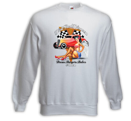 HOT Rod Pullover Hot Rod Heaven Bianco Vintage Rockabilly Pinup Consiglio