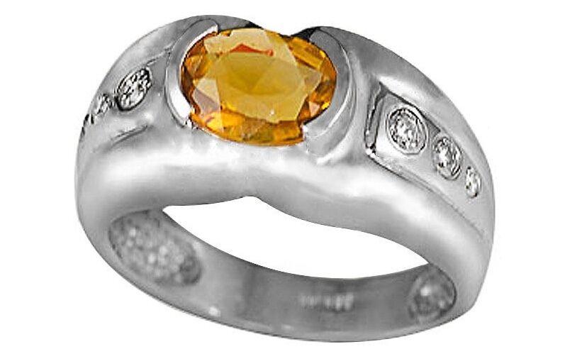 14k White gold 8x6mm Genuine Citrine and 0.12ctw Diamond Ring (Size 7) R542