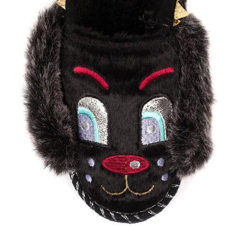 Irregular Choice NEW Doggy Doze black grey furry dog fashion slippers sizes 3-9