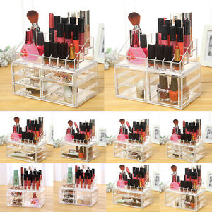 Clear-Cosmetic-Organizer-Acrylic-Makeup-Case-Jewelry-Box-Storage-Drawers-XW