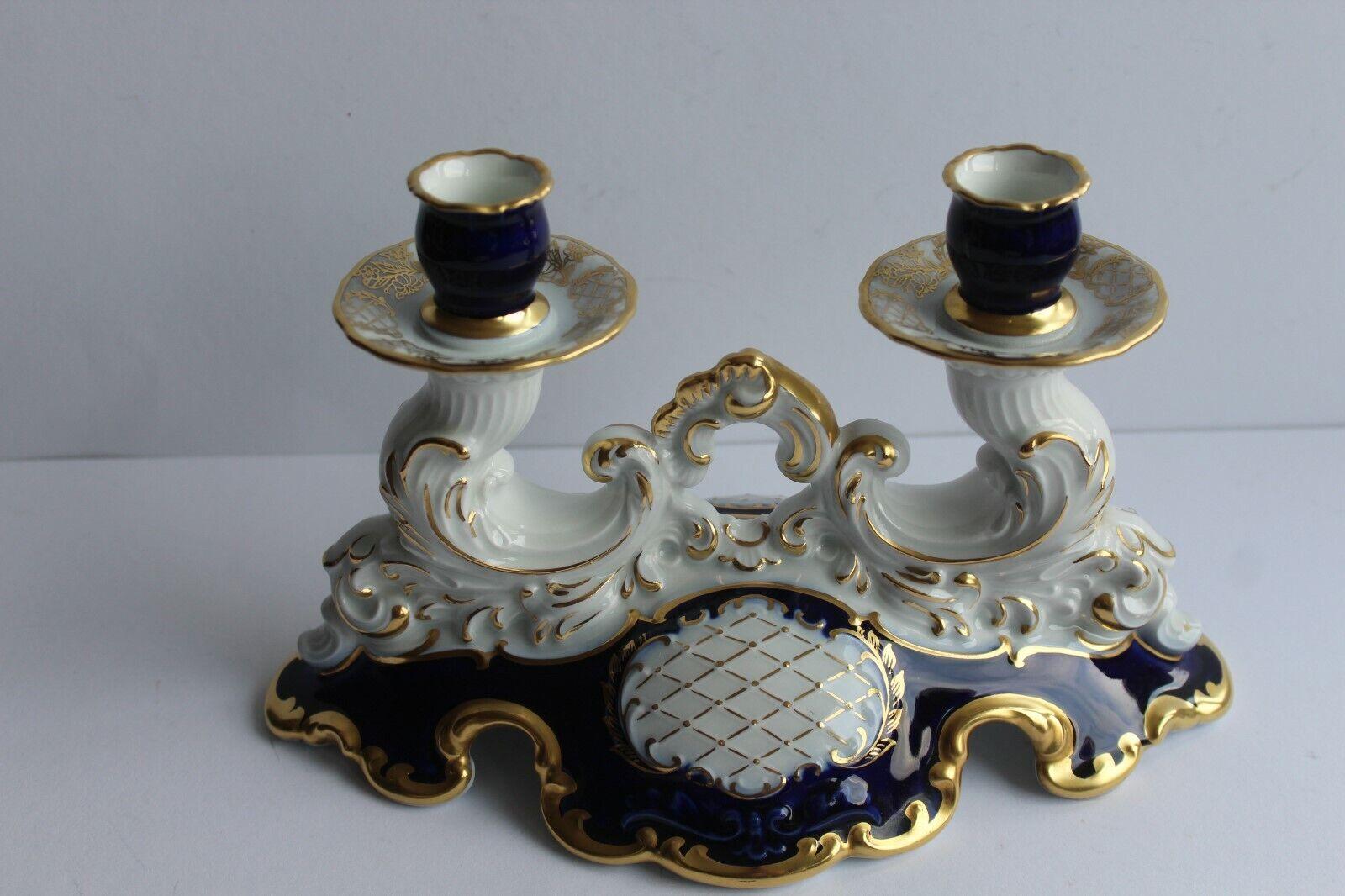 Kerzenhalter 2 flammig Schumann Arzberg Echt Kobalt Lang 25 cm