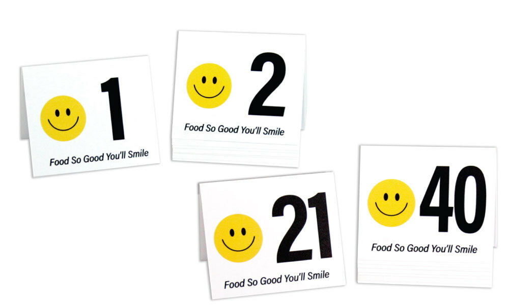 Plastic Table Numbers 1-40, Tent Style, Food So Good You'll Smile, Free Shipping