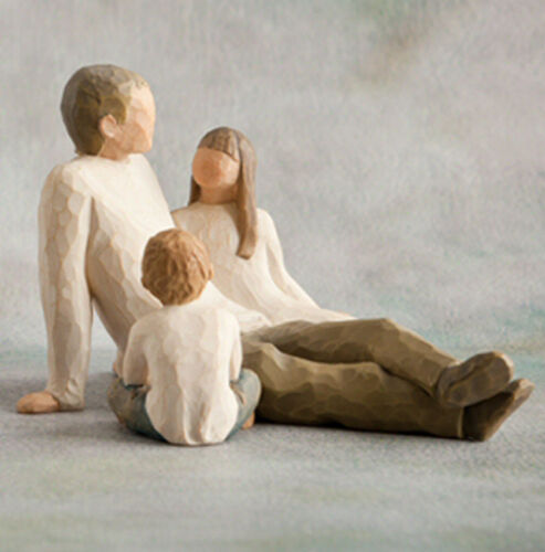 Willow Tree Father with Daughter /& Son  Figurine Gift Set Family Group