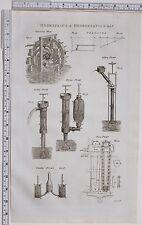 1788 ANTIQUE PRINT HYDRAULICS HYDROSTATICS PERSIAN WHEEL PRESSURE FORCING PUMP