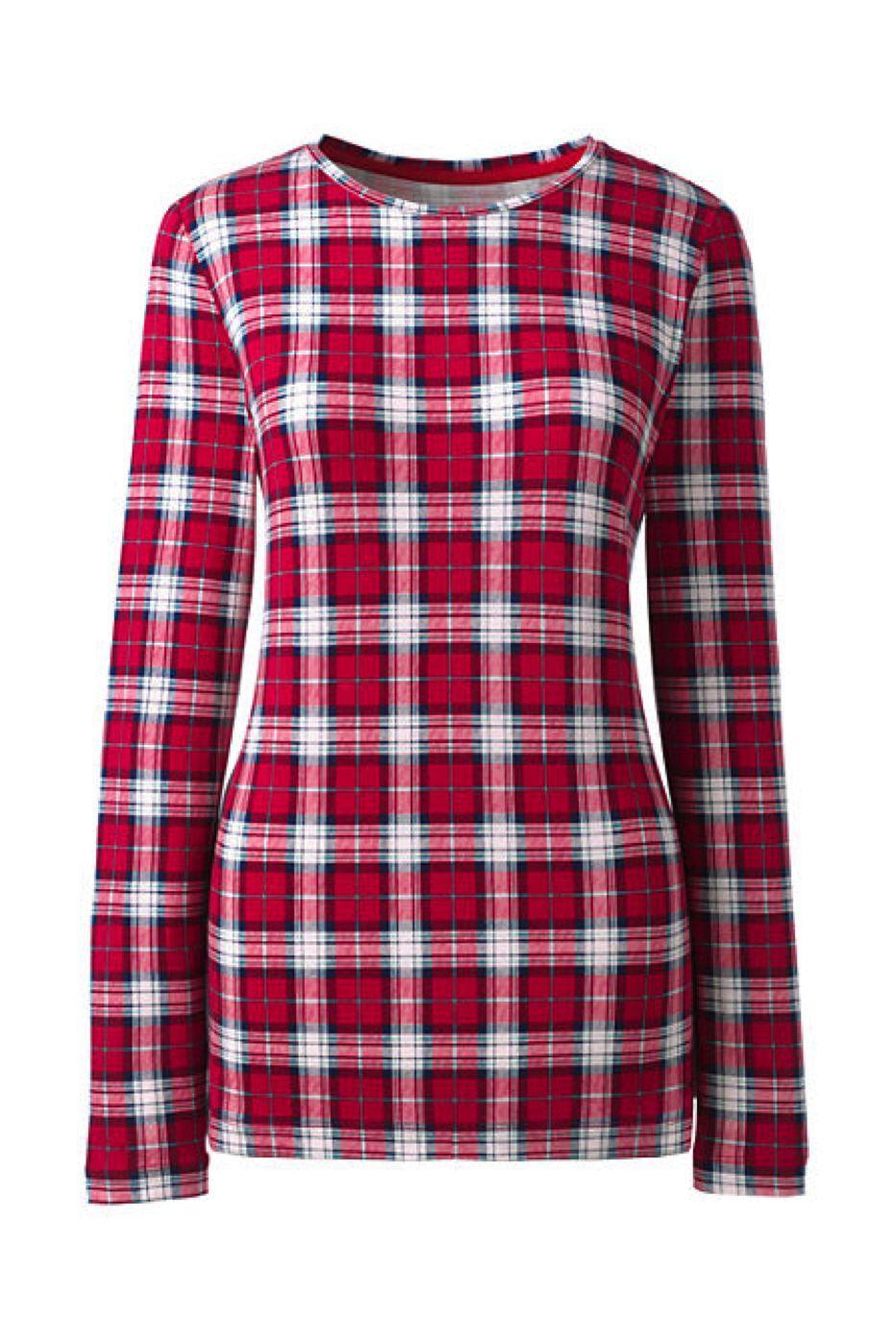 Lands End Damen M Nwt Rot Urlaub Mehrfarbig Kariert Langarm Layer T-Hemd