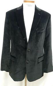 Hugo-Boss-Mens-44-42-Black-Velvet-Soft-Sport-Coat-Blazer-Jacket-Cotton-Dual-Vent