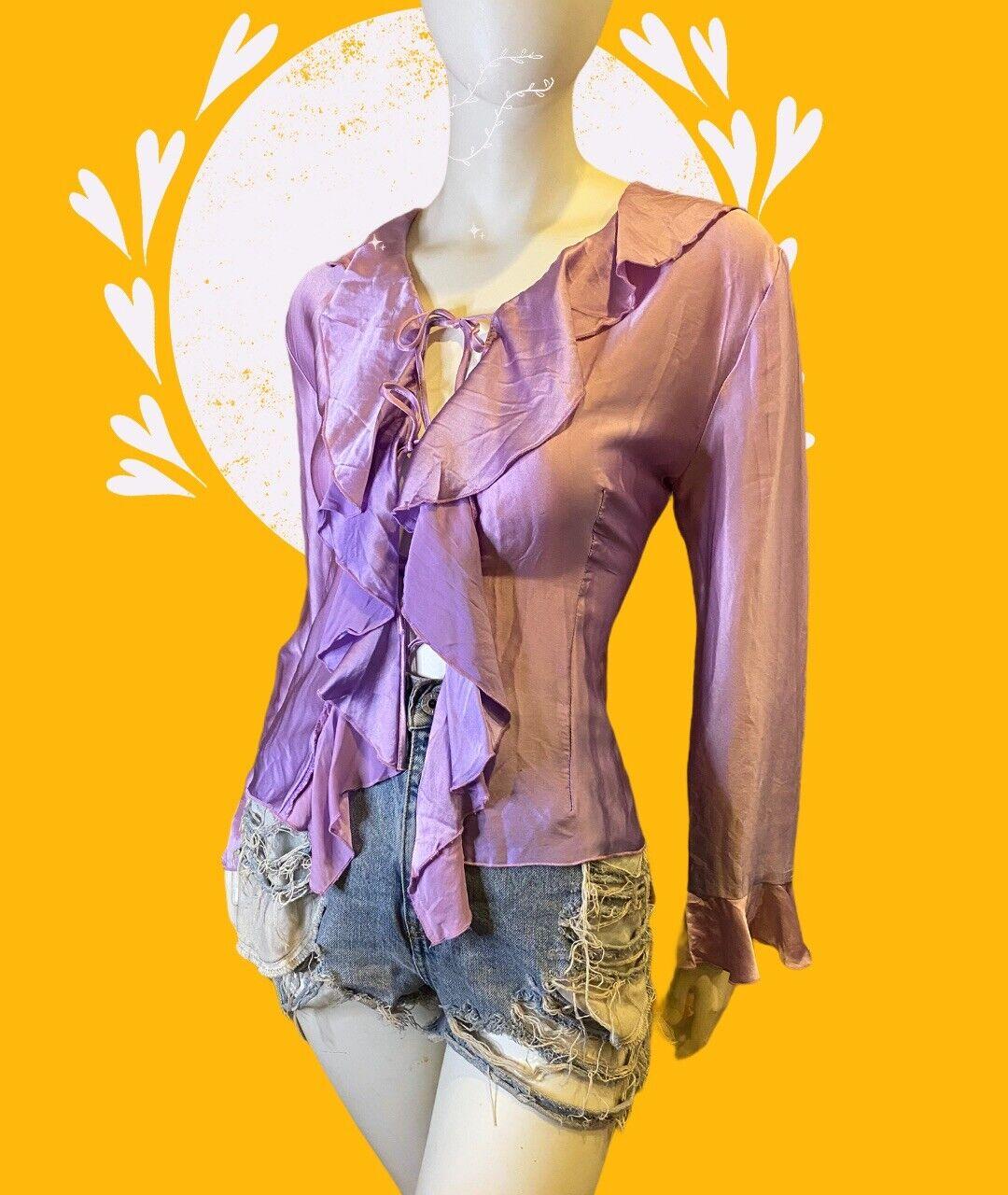 Lilac Regine Ruffle Open Front Silk Ombré Blouse … - image 1