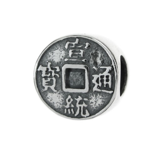 Sterling Silver antique chinois Lucky Fortune coin for European Charm Bracelets