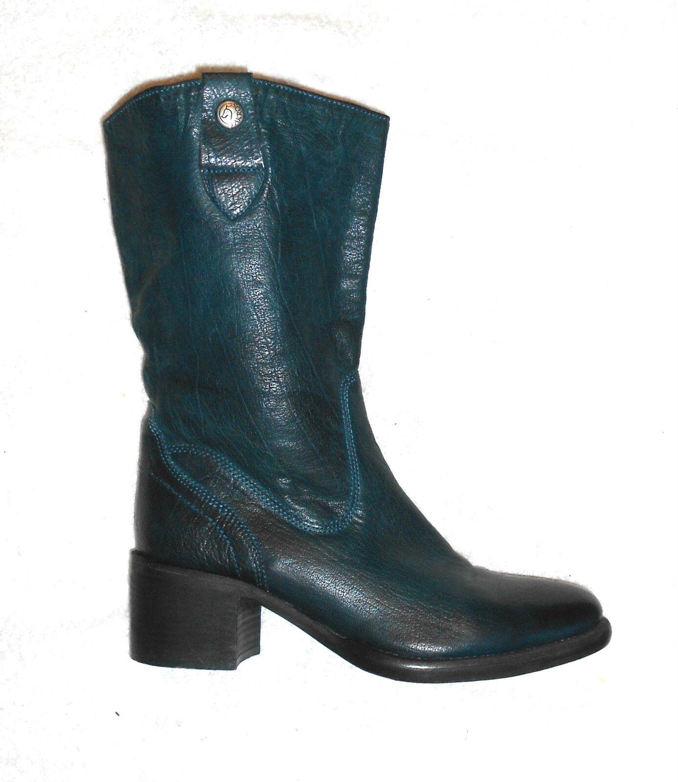 PAKROS bottes  zippées cuir bleu pétrole P 41 TBE