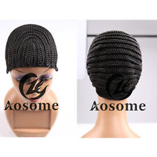 Cornrow Wig Cap With Combs for Making Braid Synthetic Wig Adjustable Strap Black
