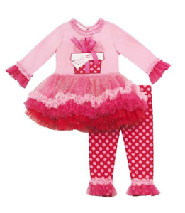Rare Editions Girls Pink White Pom Pom Tutu Easter Bunny Dress Leggings 4T 5T