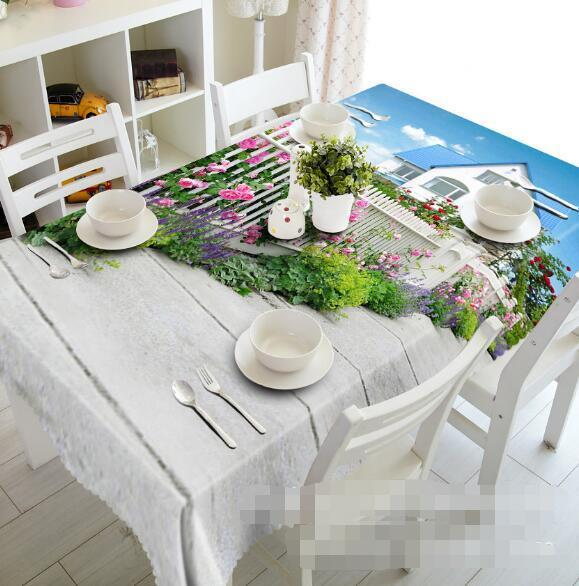 3D Garden Flowers Tablecloth Table Cover Cloth Birthday Party Event AJ WALLPAPER