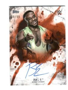 WWE-Big-E-2018-Topps-Undisputed-Orange-On-Card-Autograph-SN-35-of-99