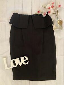 Whistles Size 12 black Kinu Folded skirt smart work office business career NEW