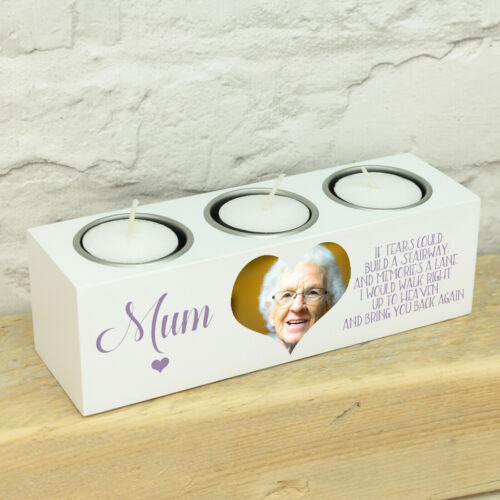 Personalised Photo Memorial Remembrance Triple Tea Light Candle Holder