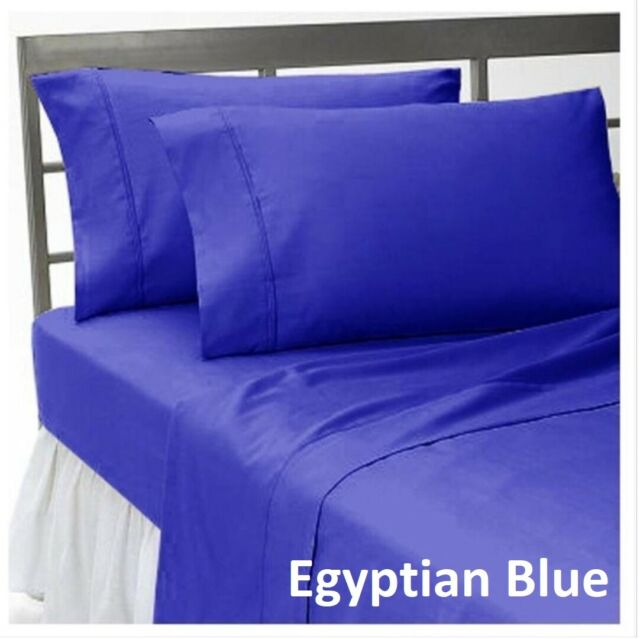 Hotel Bedding Collection 1000 TC Egyptian Cotton US Sizes Egyptian Blue Solid