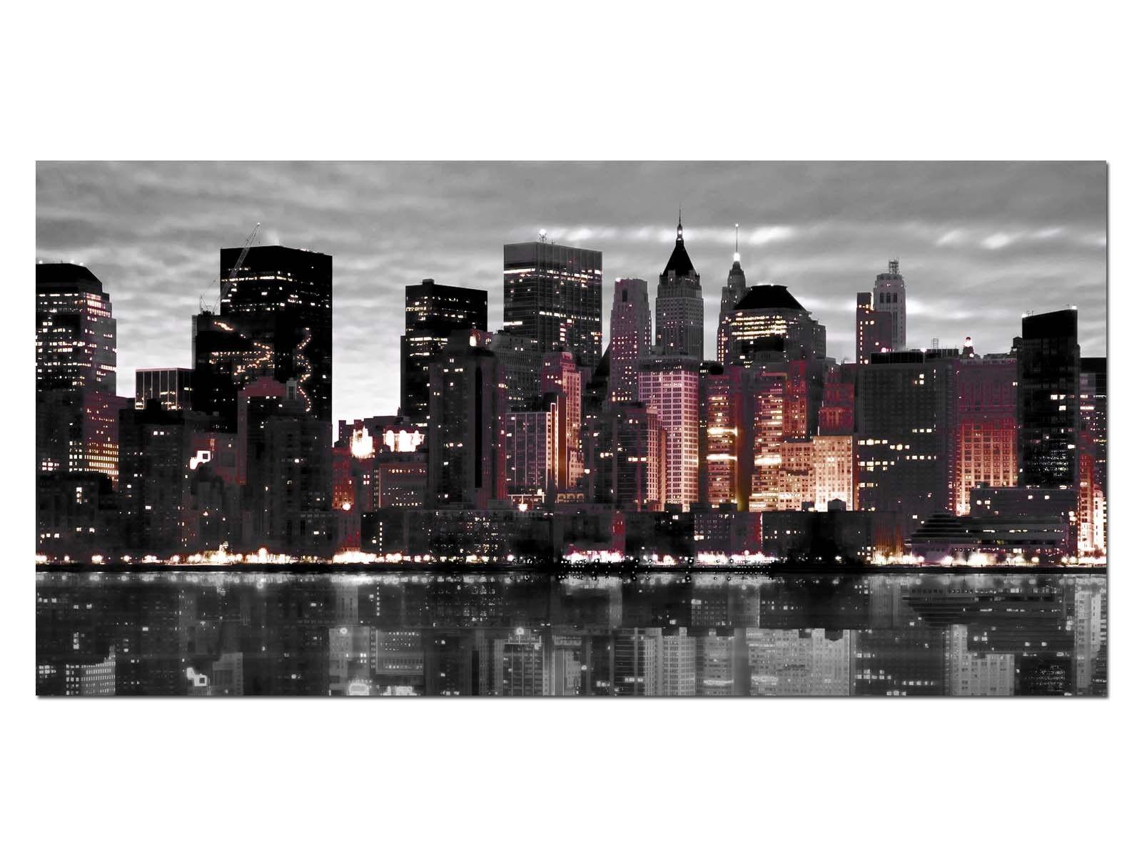 Deco Glas Bild EG4100500888 NEW YORK SKYLINE EFFECT Größe 39,37  x 19,68  HD