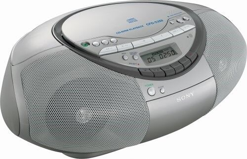 Sony CFD-S350 (CFDS350) CD/Cassette Portable Boombox with Remote (Silver)