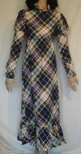 Vintage Dress Hippie Era Purple Plaid Leg of Mutton Sleeve Littlesticks B34