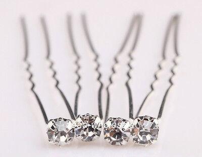 New 10pcs Charm Shiny Clear Crystal Rhinestone Stylish Hair Pins For Wedding