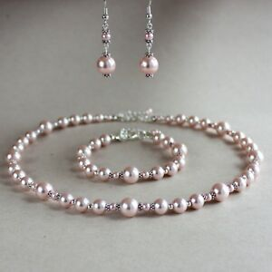 Details About Vintage Pink Blush Pearl Necklace Bracelet Earrings Wedding Bridal Jewelry Set