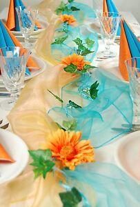 Komplette Tischdeko in türkis-orange für Hochzeit/Geburtstag ...
