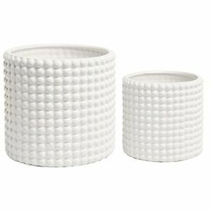 Image Is Loading Of 2 White Ceramic Vintage Style Hobnail Textured