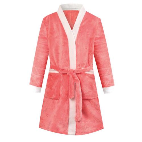 Kids Flannel Robe Long Sleeve Bathrobe Boys Girls Sleepwear One Piece Pajamas
