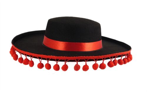 Black Adult Spanish Hat With Red Bobbles /& Ribbon Dress up Costume