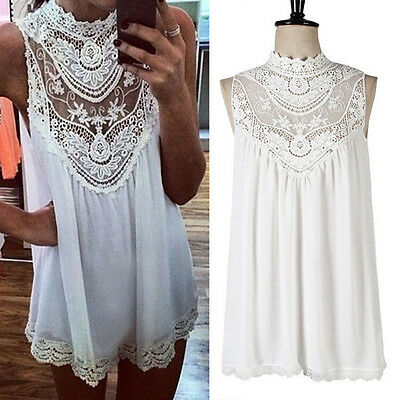 SUMMER SEXY WOMEN BOHO VEST TANK LACE CHIFFON SHIRT DRESS PARTY TOP BLOUSE 8-26