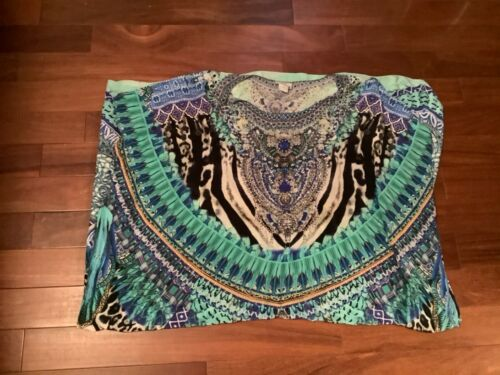 Camilla Blue Feather Kaftan Long Maxi Gown Dress O