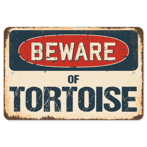 Beware Of Tortoise Rustic Sign SignMission Classic Rust Wall Plaque Decoration