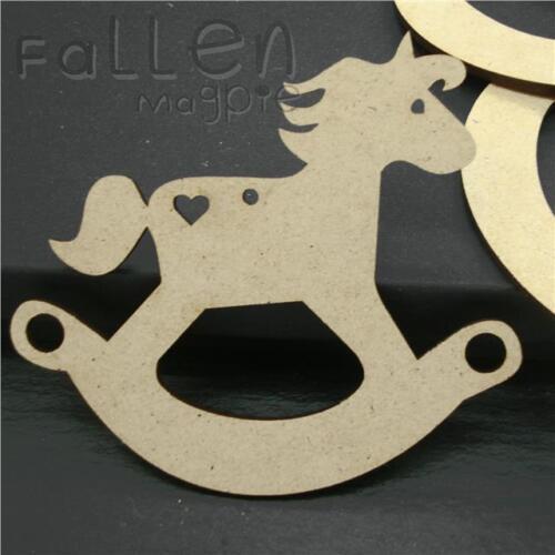 100mm Wooden Rocking Horse Shapes Nursery Baby Decoration Wood MDF Craft Blanks