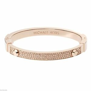 Michael Kors Rose Gold Tone Astor Stud Crystal Pave Bangle Bracelet Mkj2747791