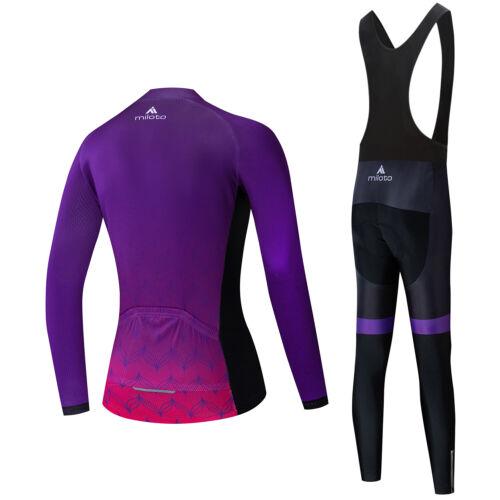2020 Miloto Women/'s Cycling Bib Tights Set Long Sleeve Cycle Jersey Bib Pants
