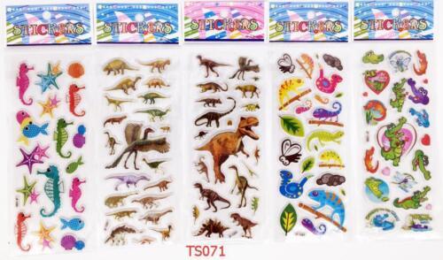 5 sheets dinosaur Stickers lot 3D children cartoon Scrapbooking puffy Kids gift