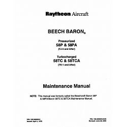 Beechcraft Baron Pressurized 58P /& 58PA Maintenance Manual