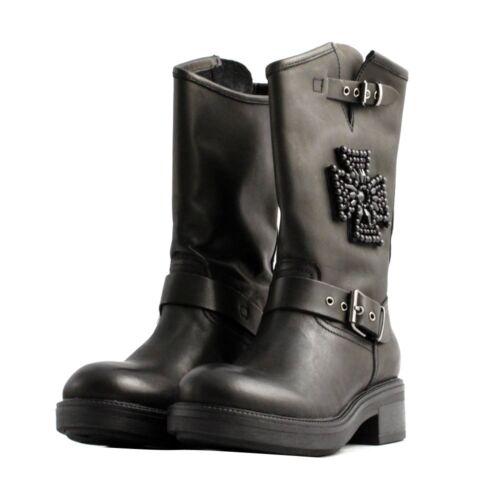715dc19883f Cuir Boucle Chaussures Qui Cœur Gemmes Milieu Femme Bottes Noir Cult Hautes  pnqxapA