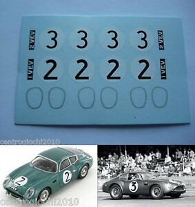 DECALS-KIT-1-43-Aston-Martin-DB4-Zagato-Le-Mans-1961-N-2-3-1