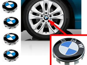 SET 4 COPRIMOZZI TAPPI BMW SERIE 1 2 3 4 5 6 7 BORCHIE RUOTA CERCHI IN LEGA LOGO
