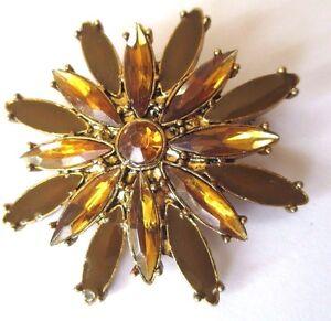 Broche Superbe Rare Bijou Vintage Fleur Couleur Or Cristal Couleur Citrine 486