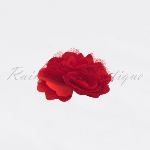 "2/"" Carnation flower satin /& tulle tutu dress hairbow wedding craft embellishment"