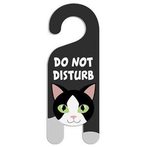 Black and White Cat Do Not Disturb Plastic Door Knob Hanger Warning ...
