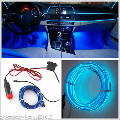 New 12V 2 Meter Embedded Car Interior Neon Adjust Atmosphere Lights EL Wire Blue